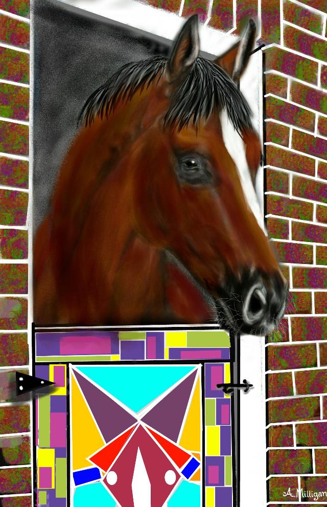 #wdpgeometric #colorful #colorsplash #collage #petsandanimals #horse  #stable  #draw 😊💚❤🐎