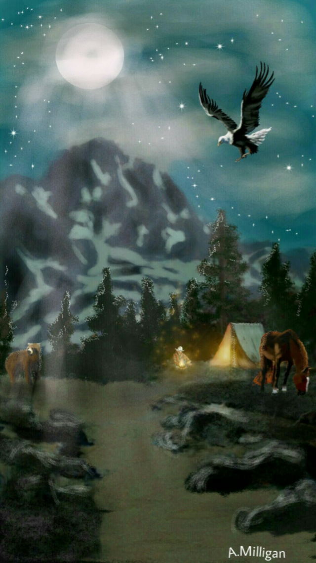 #wdpnightsky My old painting entered again for night sky 😊  #colorsplash  #mountains  #horse  #bear  #country  #cowboy  #cowboy life  #campfire  #draw😊❤💚🐎