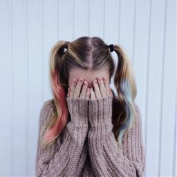 freetoedit harleyquinn pink blue hair