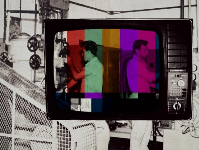 #collage #cutandpaste #composition #overexposure #tv #machinery #work #bringcolor