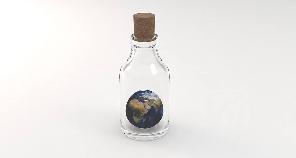 Showcase your remixing skills. Your mind has no limits.  Pixabay  (Public Domain)  #FreeToEdit #earth #tiny #object #bottle