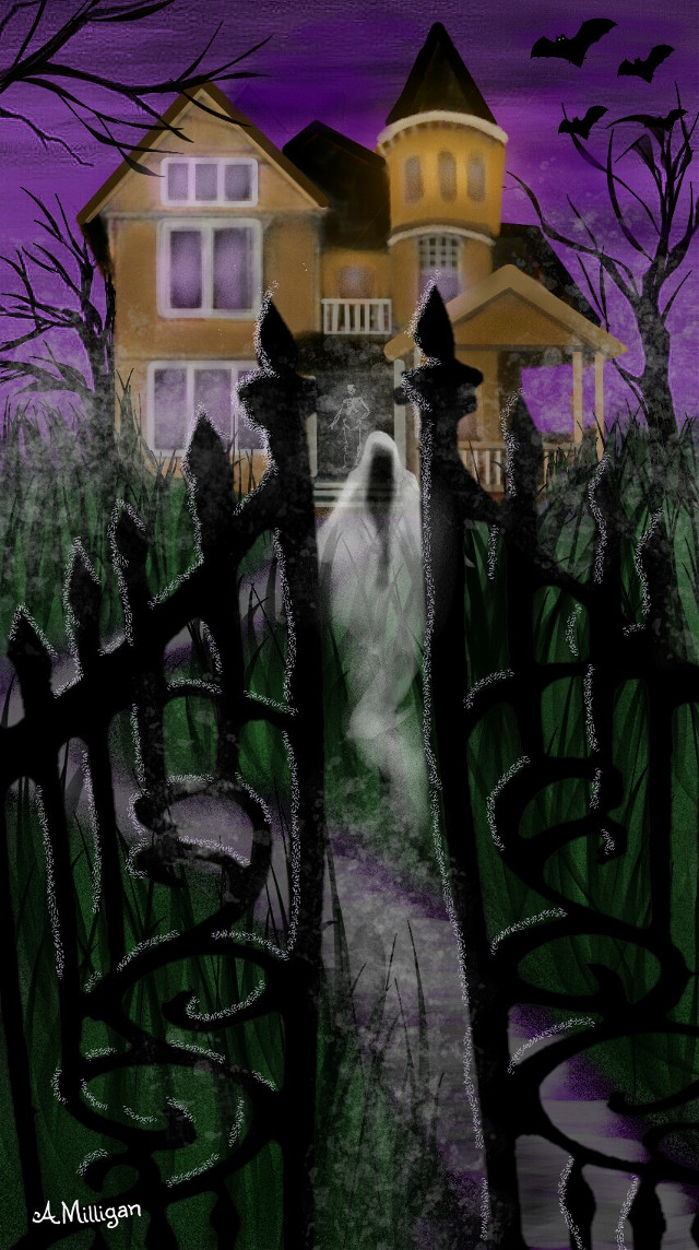 """#wdphauntedhouse  """"Haunted house on the hill""""   #colorsplash  #foggy  #mist  #ghosts  #bats  #nighttime  #creepy  #spooky  #house  #gates  #draw 😊💚❤"""