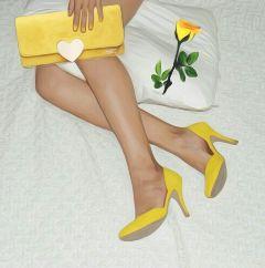 freetoedit yellow clutchbag oilpaintingeffect shoes