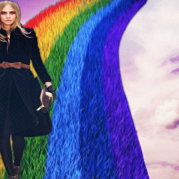 freetoedit model caradelevingne runway rainbow
